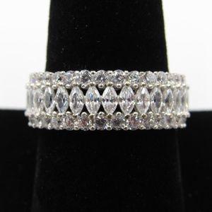 Vintage Size 9.25 Sterling CZ Diamond Band Ring